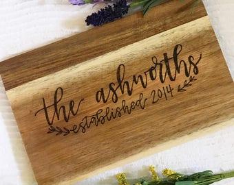 Custom Hand Lettered Wood Burned Cutting Board