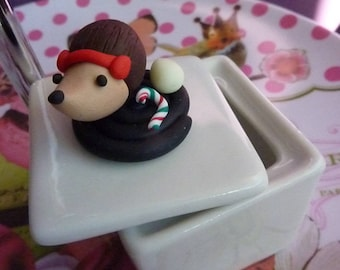 Porcelain box Hedgehog Christmas on his roll licorice polymer clay