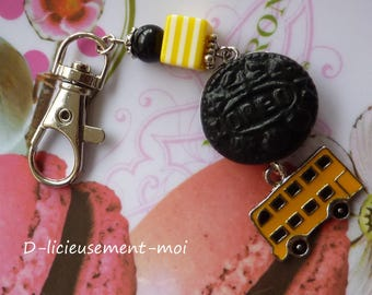 Silver snap Fimo polymer clay and yellow bus oreo cookie bag charm keychain