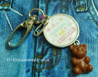 Keychain jewelry bag silver metal cap snap my Nanny is awesome Teddy bear polymer clay fimo pin safety