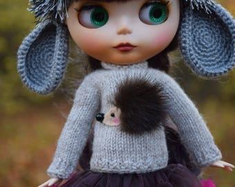 Blythe sweater cashmere sweater for Blythe with mink hedgehog Blythe outfit  Blythe doll clothes Blythe jumper
