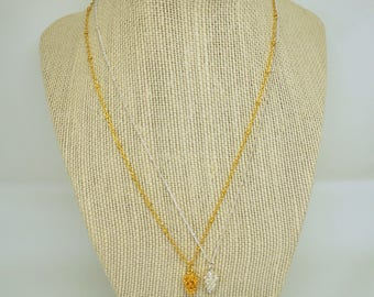 PINECONE silver or gold satellite chain necklace