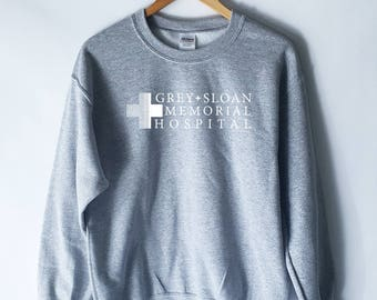 Grey Sloan Memorial Pullover Sweater Sweatshirt, Grey's Anatomy T-Shirt Sweatshirt, Greys anatomy, Meredith Grey, Derek Shepherd, Yang,Karev