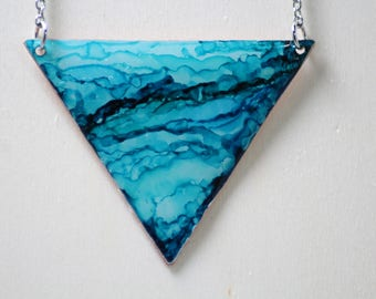 Teal and Light Blue Triangle Hand Painted Necklace