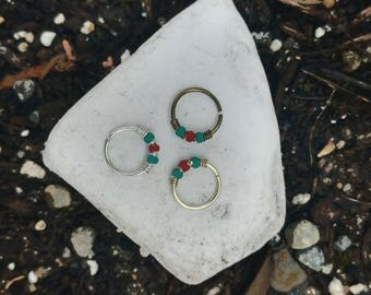 Septum or Snug Small Nose Ring Turquoise and Red Nose Hoop 22g or 20 Gauge Nose Piercing , Teal, Nose Jewelry, Tragus Earring, Helix Ring