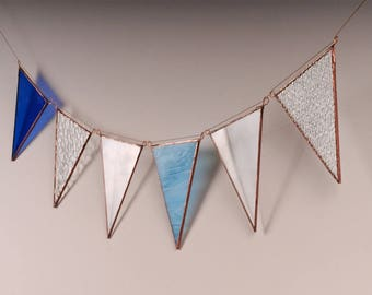 Upcycled glass bunting - blue and clear textured window hanging suncatcher