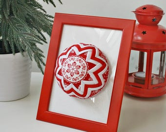 Frame, Hand-crafted Quilted Ornament Ball, Christmas Time, Home decor, Christmas Decor, Scandinavian, Red and White