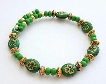 Shamrock Bracelet,Irish bracelet,St Patricks day jewelry,Beaded bracelet,Saint Patricks,Boston Celtics,Notre dame,Irish Jewelry