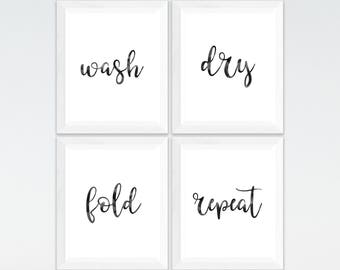 Four Prints Laundry Print Set Wash Dry Fold Repeat Printables Room Decor