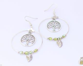 Silver Earrings: 4 cm Hoop and tree of life