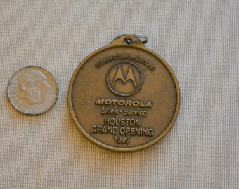 Houston, Texas Motorola Tomba Communications commemorative Grand Opening collectible Coin, metal 1990s keychain
