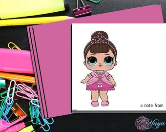 LOL Surprise Doll Fancy Thank You Cards / LOL Girl note cards /LOL Girl Stationery Set / Set of 12