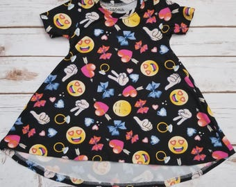 Toddler Dress - T-Shirt Dress - Toddler - Short Sleeve - Emoji