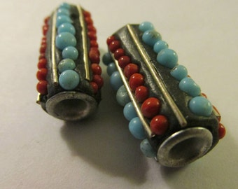 "Handcrafted Kashmiri Tubular Bead with Mini Beads, 1"", Set of 2"