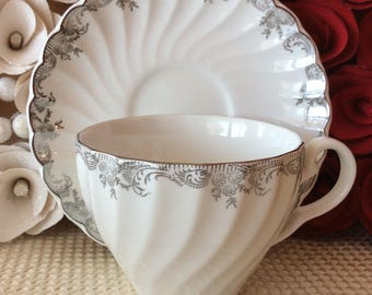 Snowhite Regency Johnson Bros ironstone teacup and saucer silver floral pattern