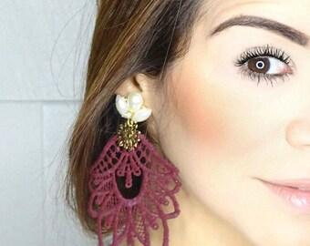 Burgundy Chandelier Earrings, Big Earrings, Lace Earrings, Dangle Earrings Handmade Earrings, Statement Earrings, Jewelry Designs, Boho Chic