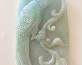"162.00ct 'Bird of Paradise"" Jadeite Jade Carving 'A' GRADE GEM"