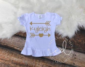 Personalized Name Shirt - Gold Arrow Name Shirt - Gold Glitter Shirt - Gold Glitter Arrow Shirt - Name Arrow Shirt - Gold Glitter - Glitter