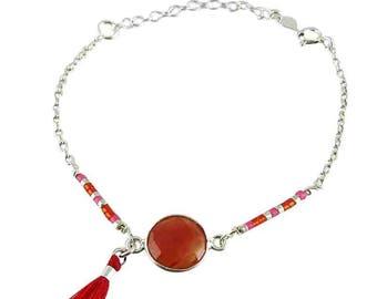 Bracelet silver Bosphorus carnelian (made in France)