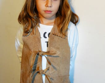 Kids leather vest hippie western cowboy cowgirl suede fringed vest brown leather gilet vintage 70s age 7-8