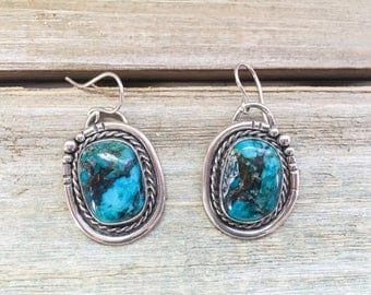 Silver turquoise drop earrings - sterling & fine silver, vintage-style, handmade, OOAK, native american, bohemian gifts for her
