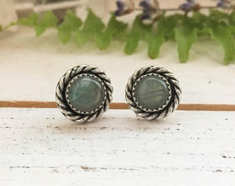 Silver labradorite stud earrings - sterling & fine silver, serrated bezel with twisted wire, handmade, bohemian boho gifts for her