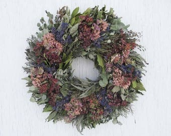 pink, purple and blue herb wreath/pink, purple and blue mixed herbs wreath/dried flowers and herb wreath/dried flower wreath/herbal wreath