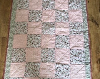 Pink Gingham and Ditsy Rose Floral Patchwork Squares Baby/Toddler Quilt