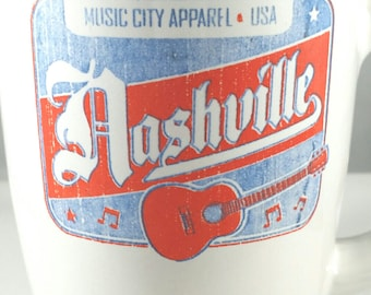 Music City Apparel coffee mug, Nashville coffee mug, Nashville guitar cup, collectible Nashville cup, Nashville guitar. guitarist gift