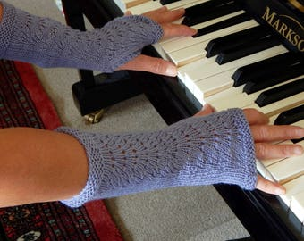 Hand knitted Hand Warmers in mauve 100% wool yarn