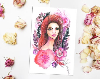 Pink girl print Floral girl painting Watercolor girl illustration Pink hair girl illustration Art print Pink purple girl fine print 5x7,10x8