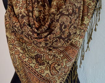 Pashmina Scarf Shawl for Women Brown Gold, GOLD Paisley Pashmina Shawl