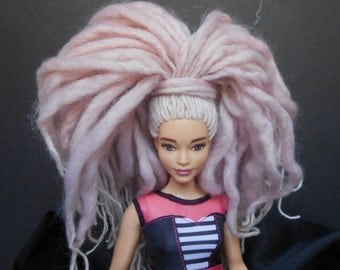 Ooak Yarn Rerooted Curvy Barbie Doll