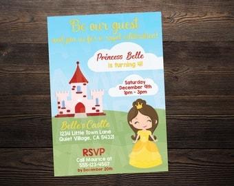 Beauty and the Beast / Belle Princess Birthday Invite // Custom Birthday Invitation //  5x7 // High Resolution Digital Download JPEG & PDF