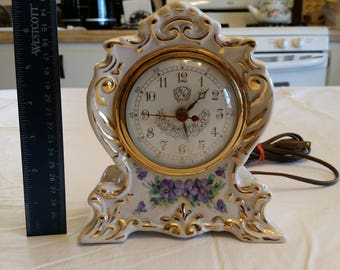 rare antique mantel clock by heirlooms of tomorrow - made in usa - hand painted porcelain glaze ceramic - victorian ornate art deco violets