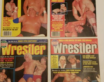 4 vintage pro wrestling magazines - the wrestler 1982 sept oct nov dec  - wwe wwf awa ecw nwa sports von erich flair putski snuka orton #E