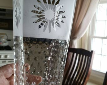"antique clear pressed glass square floral vase 8"" w/ hobnail & frosted designs - flower planter vintage studio art centerpiece bathroom"