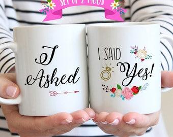 Engagement Mug Set, Newly Engaged Mugs, Engagement Gifts