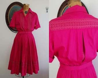 Vintage 1950s hot pink shirtwaist dress   50s cotton and lace full skirt  
