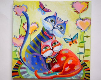 cat oil painting on canvas art Oil paintings abstract cat Oil paintings Valentine's Day painting Original oil painting Abstract oil art