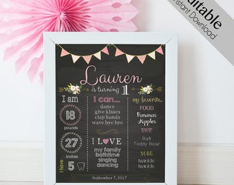 Birthday Chalkboard Print, Editable Text, DIY, Art Print, Chalkboard Sign, First Birthday, INSTANT DOWNLOAD Chalkboard Birthday Party Poster