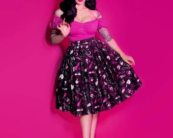 "IN-STOCK - ""Frisky Fetish"" Print Vixen Swing Skirt - Vixen by Micheline Pitt"