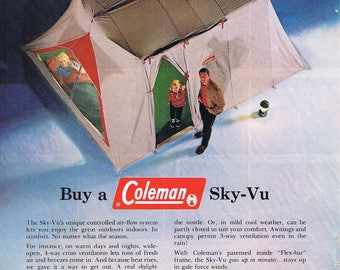 1957 Coleman Sky-Vu C&ing Tent or Southern California Travel Original Vintage Advertisement & Coleman tent | Etsy
