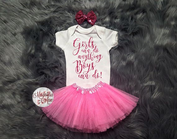 Girls Can Do Anything Boys Can Do Outfit, Baby Clothes, Baby Shirt, Toddler Shirt, Toddler Tutu Set, Baby Shower Gift, Baby Gift Baby Onesie