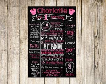 Minnie Chalkboard, Pink Minnie Party, 1st Birthday Chalkboard, Chalkboard Birthday Board