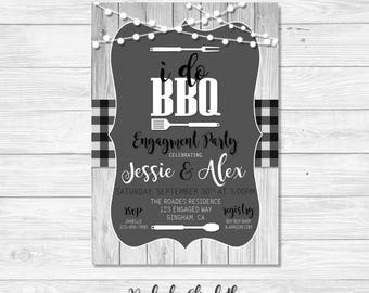 BBQ Engagement Party Invitation, I do bbq Invitation, Rustic Invitation, Black & White Engagement Invite, *DIGITAL FILE*