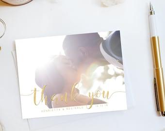 Wedding Thank You Card, Custom Photo Wedding Thank You Cards Faux Gold Foil Wedding Thank You Cards Vintage Gold Foil Wedding Cards Amanda2
