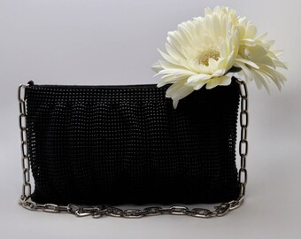 Estate Le Regale Black evening bag with silver strap, signed, evening clutch, black beaded evening bag, vintage black evening clutch
