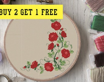 rose cross stitch pattern, floral cross stitch, Floral wreath cross stitch pattern, embroidery floral, flower cross stitch pattern