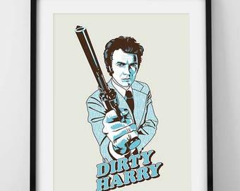 Dirty Harry. Clint Eastwood. Print 40 x 30 cm.